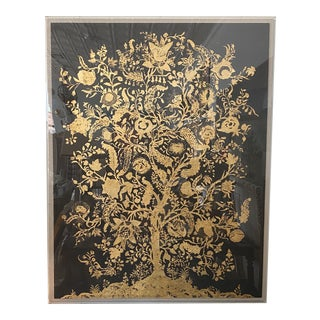 Guilded Tree of Life in Acrylic Box Frame For Sale
