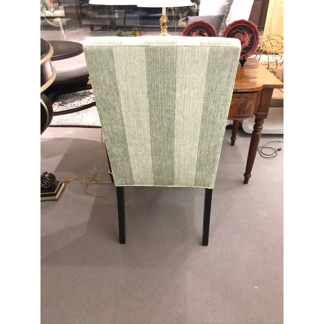 Contemporary Robert Allen Green Stripe Tufted Chair For Sale - Image 3 of 6