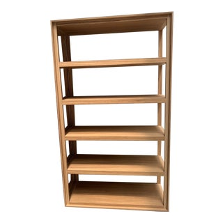 Hand Stained White Washed Zebra Wood Cecchini Bookshelf For Sale