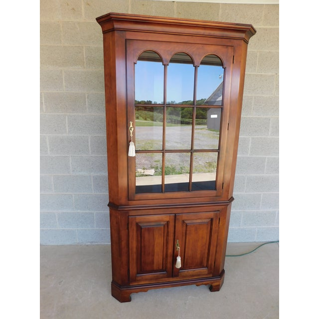 Statton Old Towne Chippendale Style Cherry Corner Cabinet For Sale - Image 13 of 13