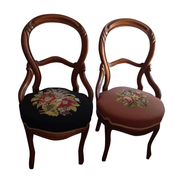Victorian Balloon Back Chairs - Pair - Image 1 of 3