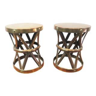 Mid Century Sarreid Style Brass Stools - a Pair For Sale