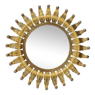 Vintage Italian Sunburst Mirror For Sale