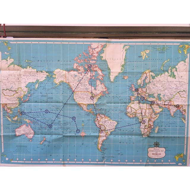 Vintage International Map of the World by Hammond - Image 8 of 10