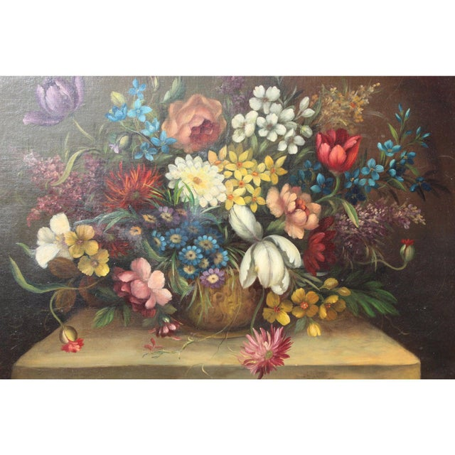 Early 20th Century Early 20th C. Dutch Italian Floral Painting For Sale - Image 5 of 10