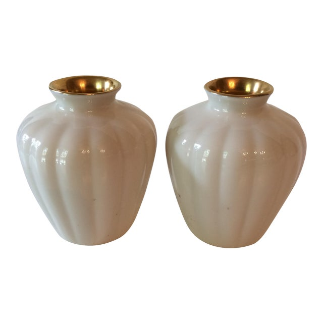 Vintage Cream Gold Lenox Vases A Pair Chairish