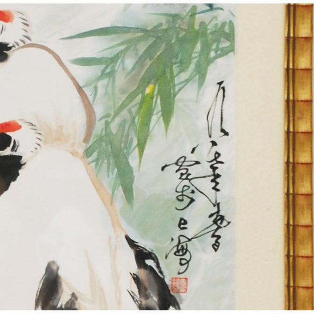 Asian Large Mid-Century Japanese Cranes Watercolor Painting For Sale - Image 3 of 7