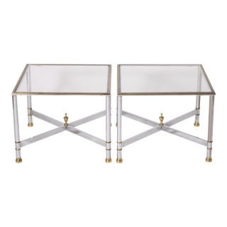 Nickel and Brass Tables - a Pair For Sale