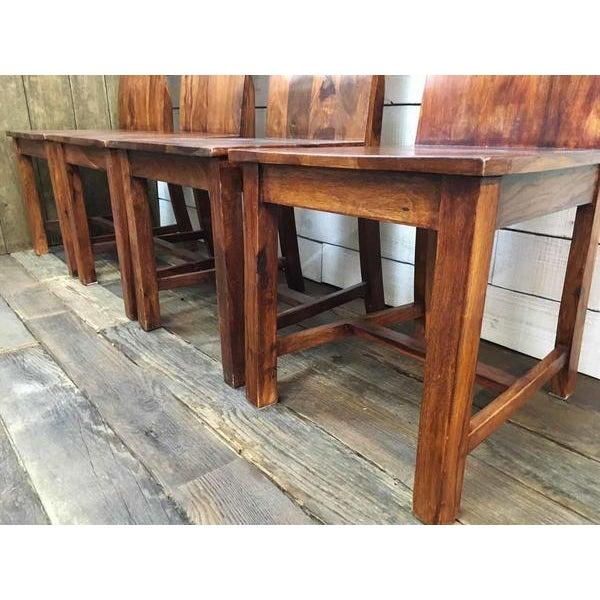Vintage Wooden Dining Chairs - Set of 4 - Image 3 of 4