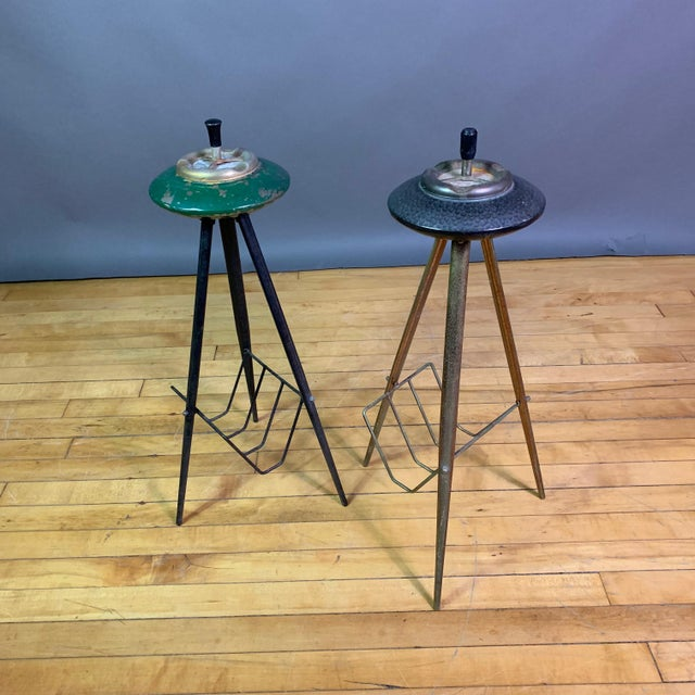 Pair 1940s Italian Painted Metal Standing Ashtrays For Sale - Image 12 of 12