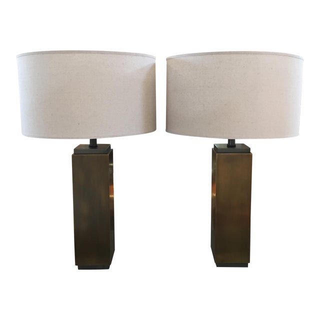 Restoration Hardware Square Column Table Lamp - A Pair For Sale