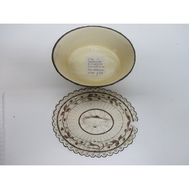 Antique Cream Ware Butter Dish With Pierced Rim Basket Weave Style For Sale - Image 4 of 6