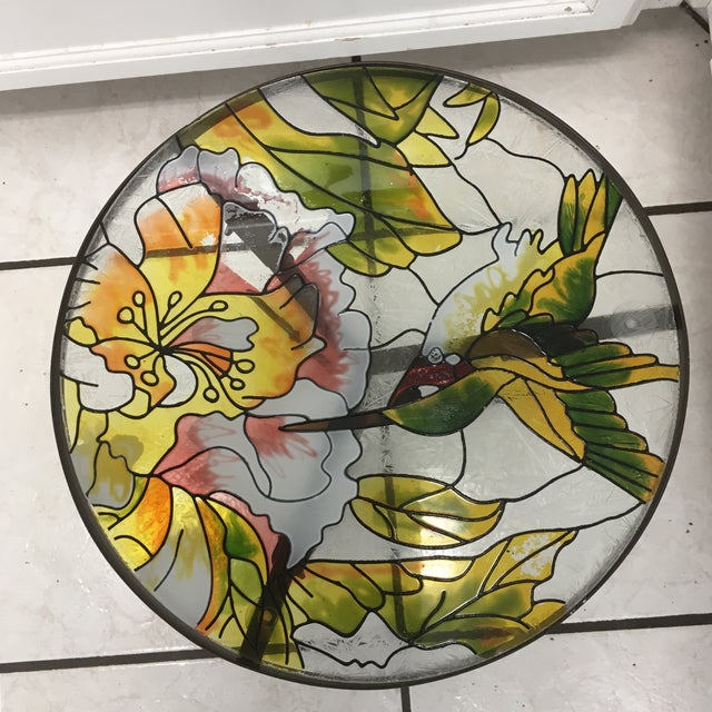 Hummingbird Stained Glass Accent Plant Stand Tables For Sale - Image 10 of 11