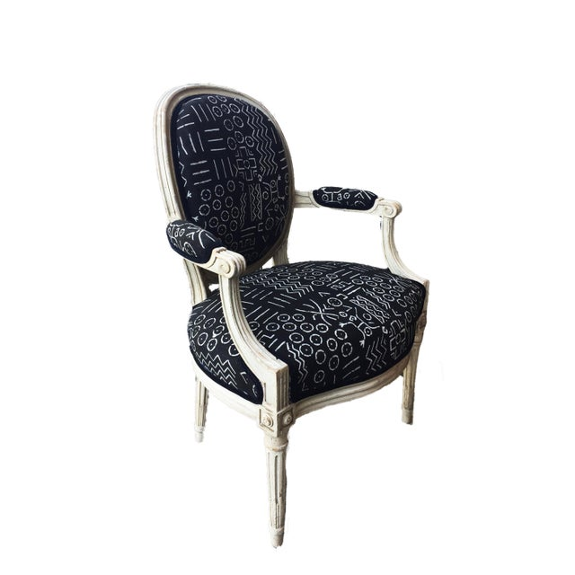 French Old French Chair W/Black & White Mud Cloth For Sale - Image 3 of 8