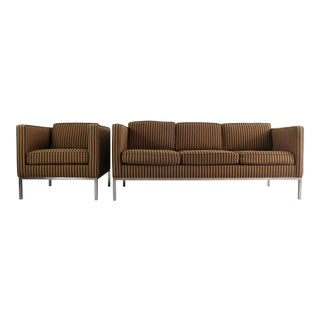 Edward Axel Roffman 3 Seat Sofa and Matching Chair in Original Striped Upholstery on a Chrome Base, USA For Sale