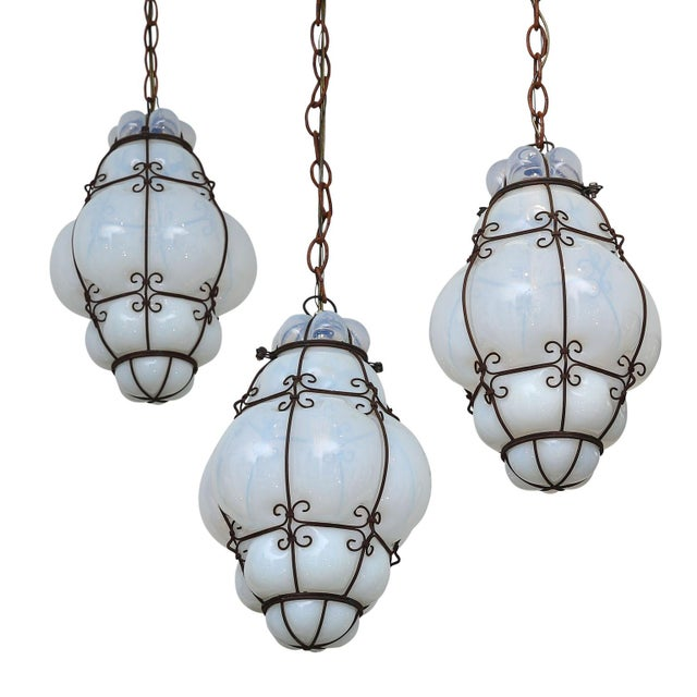 Three Caged Glass Italian Pendants For Sale - Image 10 of 13