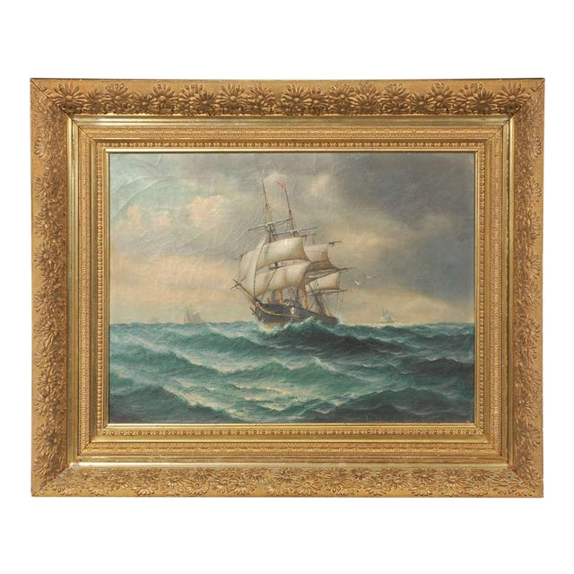 19th Century Signed American Oil Painting of a Ship at Sea For Sale