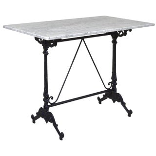 Rectangular French Style Cast Iron Base With Marble Top Garden Table or Bistro Table For Sale