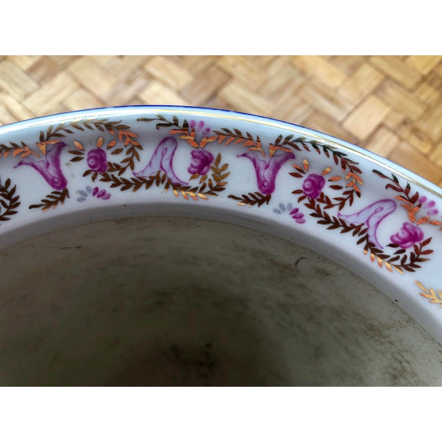 Floral and Swag Gilt Porcelain Cachepot Planter For Sale In Charleston - Image 6 of 12
