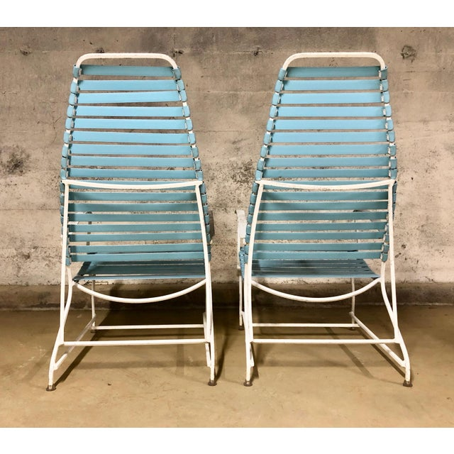 Pair of Mid Century Modern High Back Patio Lounge Chairs For Sale - Image 4 of 13