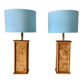 1970s Vintage Wicker Weave Rattan Lamps - A Pair For Sale
