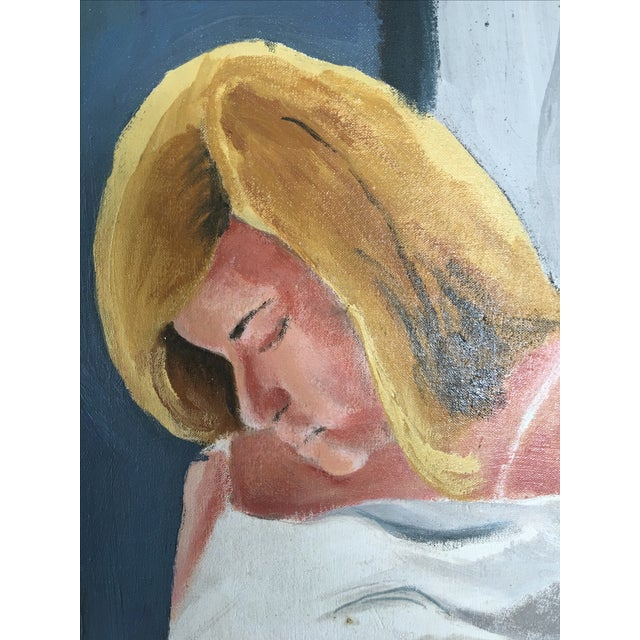 Woman Changing Mid-Century Oil Painting - Image 3 of 5
