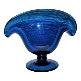 Mid Century Artisan Hand Blown Aquamarine Glass Vase For Sale
