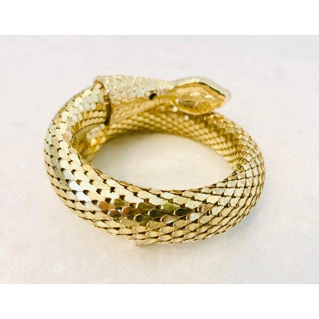 Art Deco Whiting & Davis Gold Mesh Snake Bracelet For Sale - Image 3 of 9