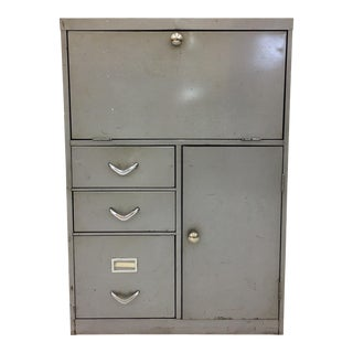 Vintage Metal Fall Front Desk For Sale