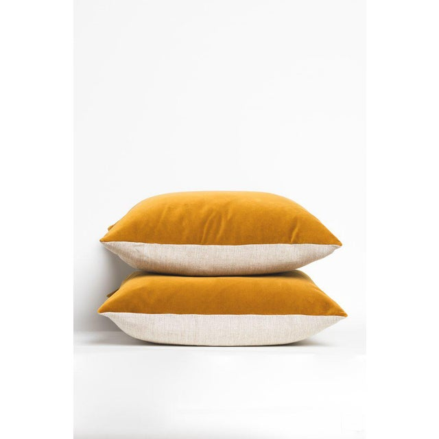 "Curry gold colored velvet pillow with oatmeal linen back and zipper closure. Dimensions: 22""x22"". Sold individually."