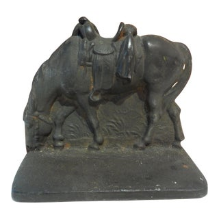 Vintage Single Book End Or Door stop Cast Iron Horse For Sale