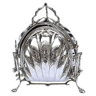 Antique Silver Plated Biscuit Server For Sale