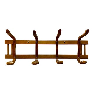 Vintage Mid-Century Bentwood Wall Hook Coat Rack in the Style of Thonet For Sale