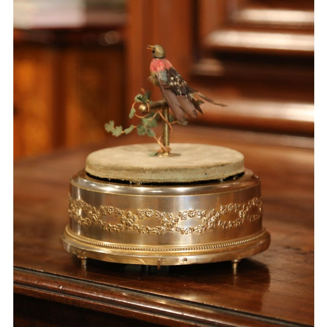 Gold 19th Century French Automaton Singing Bird in Brass Cage For Sale - Image 8 of 13