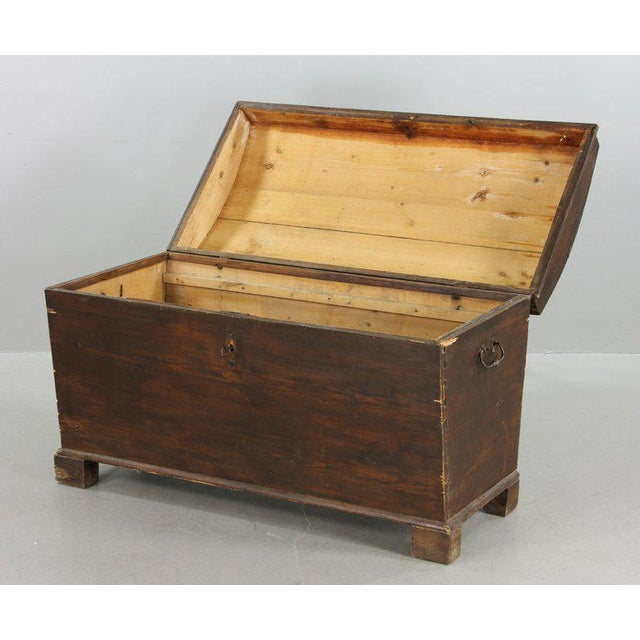 """19th century dome top coffin chest, pine with hand-wrought iron handles, 28"""" high x 46"""" wide x 24"""" deep. Includes original..."""