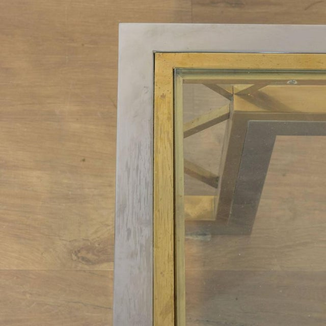French 1970s Polished Steel and Brass Coffee Table with Glass Top - Image 4 of 8