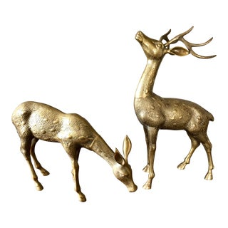 Large Brass Deer- a Pair For Sale