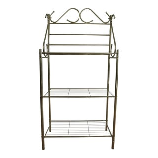 1980s Hollywood Regency Bakers Rack/Multi Use Brass Shelving For Sale