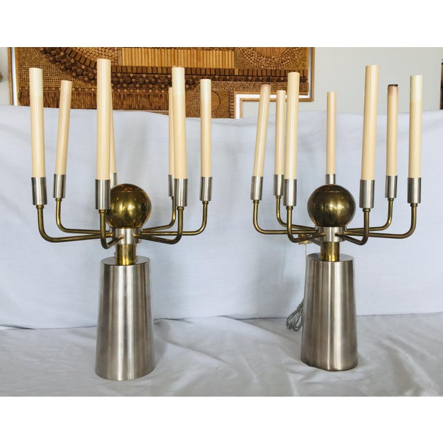 Brass and Chrome French Two-Tone Sconces- a Pair For Sale - Image 13 of 13