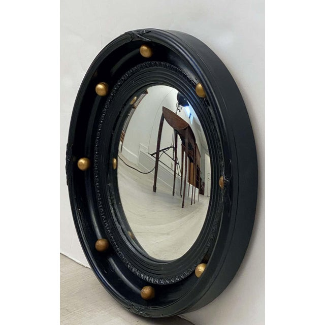 English Round Ebony Black and Gold Framed Convex Mirror For Sale - Image 4 of 13