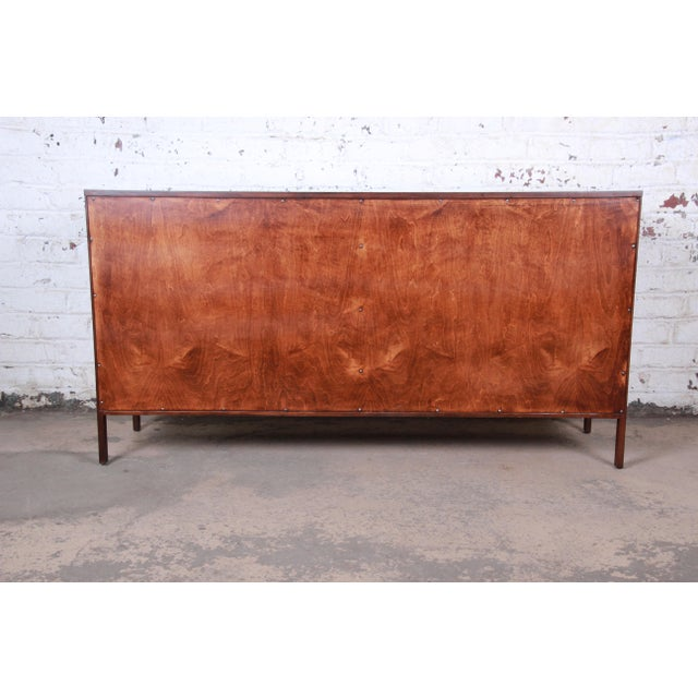 Paul McCobb for Calvin Mid-Century Modern Eight-Drawer Walnut Dresser or Credenza, Newly Restored For Sale - Image 12 of 13