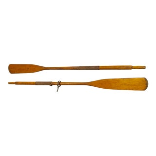 1950s Nautical Wood Oars With Leather Grips - a Pair For Sale