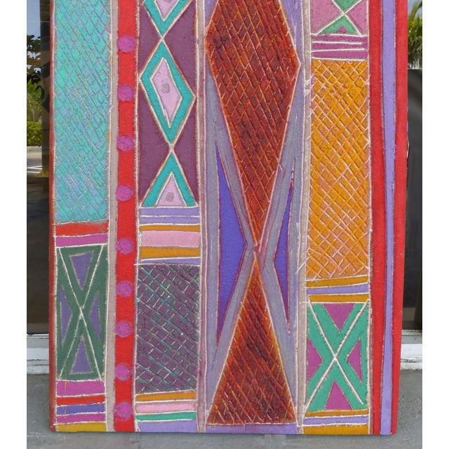 """Modern """"Primitive Geometric Spear"""" Mixed Media Painting For Sale - Image 3 of 13"""