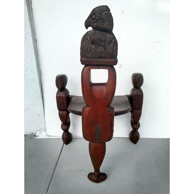 1970s 1970's Hand-Carved Artistic 3-Legged Chair, With Eagle Bust For Sale - Image 5 of 13