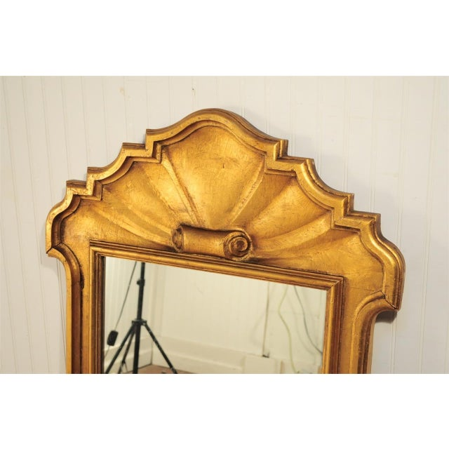 1950s Italian Carved Wood Gold Scroll Shell Form Wall Console Decorator Mirror - Image 2 of 9
