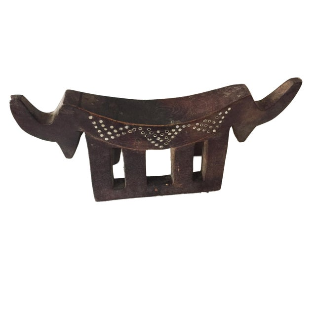"1970s Dinka Headrest W/ Metal Studs South Sudan 15"" W For Sale - Image 5 of 7"