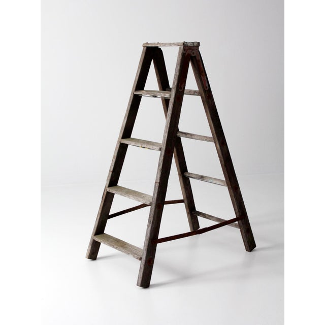 Cottage Vintage Wooden Folding Ladder For Sale - Image 3 of 11