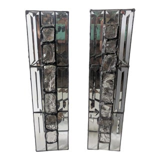 Vintage Handcrafted Stained Glass and Mirrored Wall Candle Sconces - a Pair For Sale