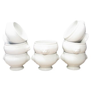 Traditional French Soup Bowls W/ Lion Handles, S/8 For Sale