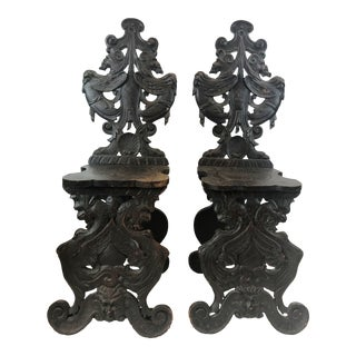 18th Century Vintage Italian Carved Wooden Sgabello Chair- a Pair For Sale